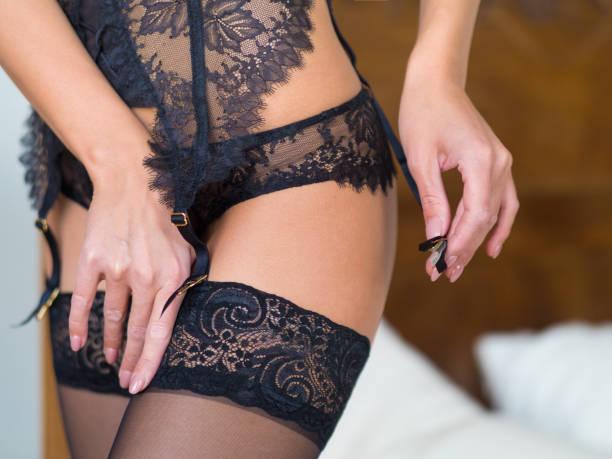 Female Hips in Classical Black Stockings   Tiffany's Girls Sydney Brothel